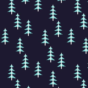 Blue Trees (midnight navy) Woodland Forest Fabric, white tree trunks