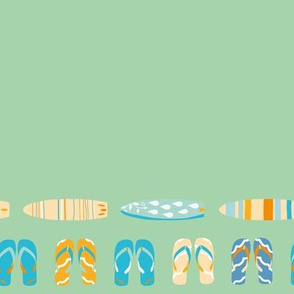 Border with colorful and fun flip flop & surfboards. Green background