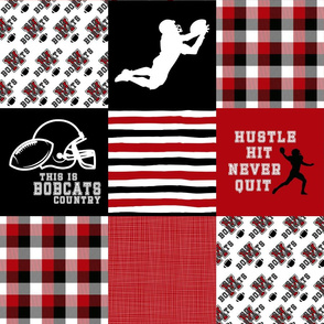 Football//Hustle Hit Never Quit//Bobcats - Wholecloth Cheater Quilt
