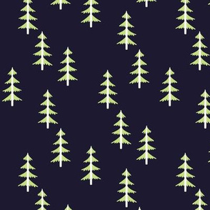 Green Trees (midnight navy) Woodland Forest Fabric, white tree trunks