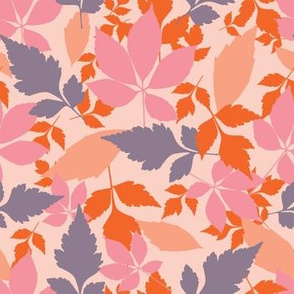 Autumn leaves in pastel colors