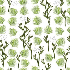 Tree, Birds and Palm Leaves Tropical Minimal Pattern