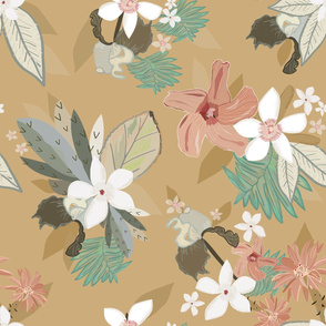 Soft Natural Colors Tropical Flowers Pattern
