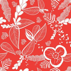 On Safari  tropical leaves red pattern