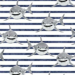 sharks - sharks on blue  2 stripes - LAD19