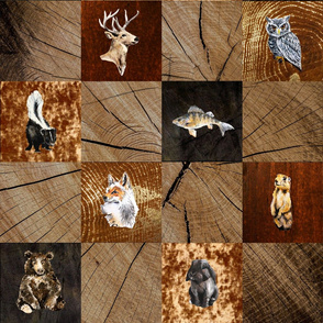 Woodland Animals Quilt Print