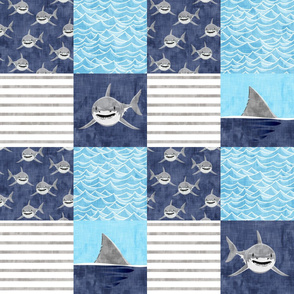 Shark Wholecloth - mid blue - shark and fin - shark nursery   - LAD19