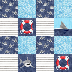 Shark Wholecloth - mid blue - shark, fin, and life preserver - shark nursery  - LAD19