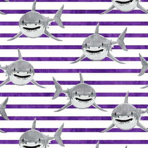 sharks on purple stripes - LAD19