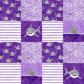 Shark Wholecloth - Purple - shark and fin - shark nursery  - LAD19