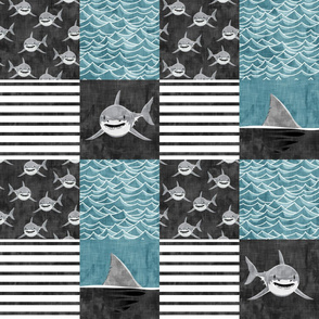 Shark Wholecloth - slate - shark and fin - shark nursery  - LAD19