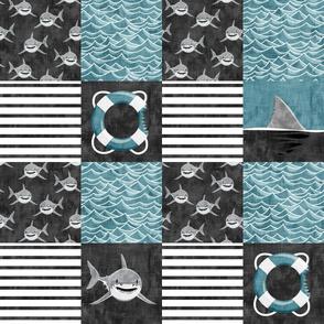 Shark Wholecloth - slate - shark, fin, and life preserver - shark nursery - LAD19