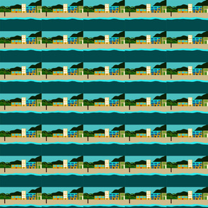 Pattern of beach houses with palm trees