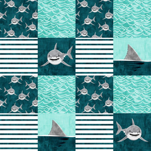 Shark Wholecloth - teal - shark and fin - shark nursery  - LAD19