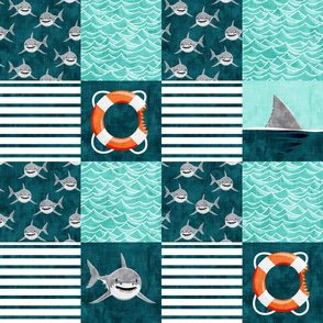 Shark Wholecloth - teal - shark, fin, and life preserver - shark nursery - LAD19