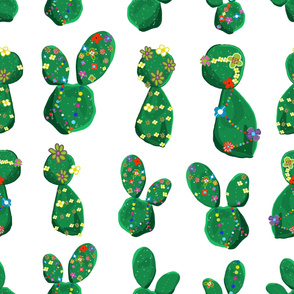 Cactus with colorful hawaiian flowers tropical pattern