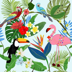 Toucan, Parrot, Flamingo and Tropical Flowers