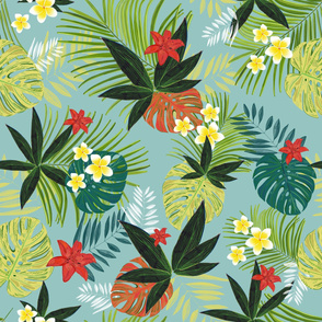 Monstera, Palm Tropical Leaves Pattern