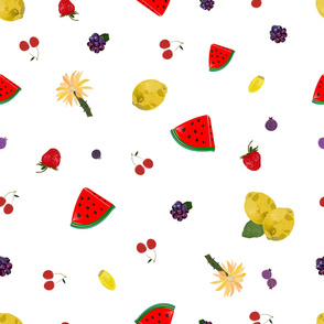 Fruity pattern with watermelon_ lemon_ cherry_ strawberry and blackberry colorful summer time pattern