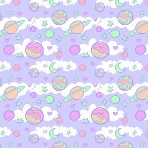 Original Cute Planets in Lavender