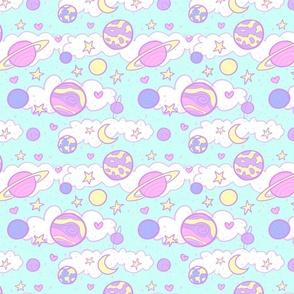 Original Cute Planets in Teal
