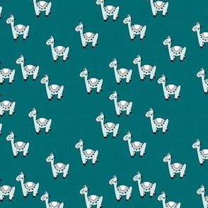 Kawaii Llama baby nursery sleepy alpaca wool animals on off white linnen autumn winter petrol blue boys SMALL