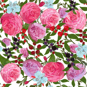 Roses and fruit seamless pattern with white background