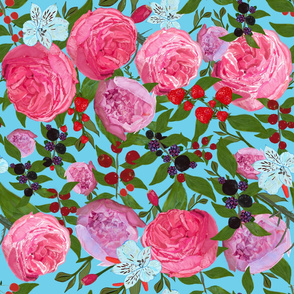 Roses and fruit with blue background