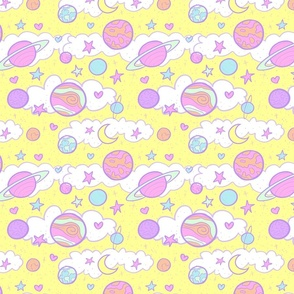 Original Cute Planets in Yellow