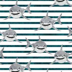 shark - great white sharks - dark teal stripes - LAD19