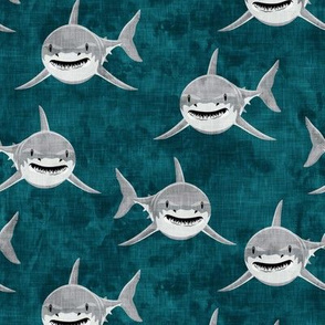 shark - sharks on dark teal - LAD19
