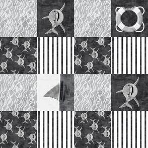 shark wholecloth - black and white - shark nursery (90)- LAD19