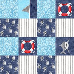Shark Wholecloth - mid blue - shark, fin, and life preserver - shark nursery (90) - LAD19