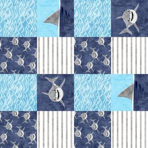 Shark Wholecloth - mid blue  - shark and fin - shark nursery (90) - LAD19
