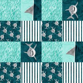 Shark Wholecloth - teal - shark and fin - shark nursery (90)  - LAD19