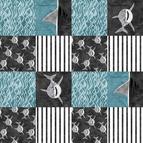 Shark Wholecloth - slate - shark and fin - shark nursery (90)  - LAD19
