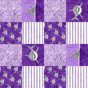Shark Wholecloth - Purple - shark and fin - shark nursery (90) - LAD19