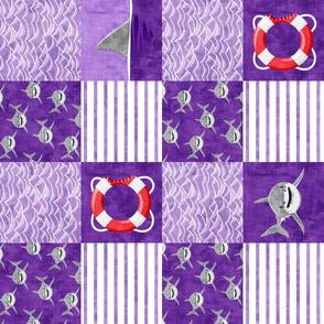Shark Wholecloth - Purple - shark, fin, and life preserver - shark nursery (90) - LAD19