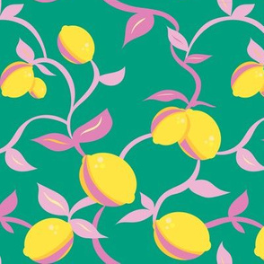 LEMON VINE ON TEAL