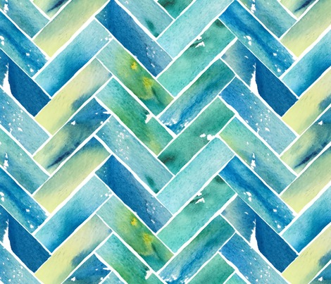 Rwatercolor-herringbone-blue-and-yellow_contest273953preview