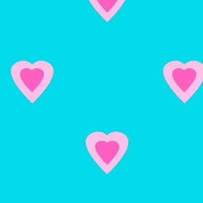 Hot Pink Hearts on Turquoise