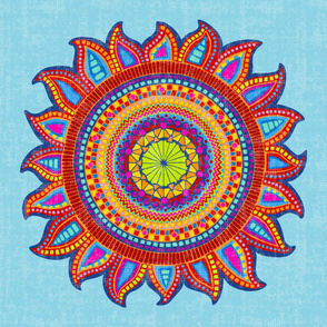 boho sun textured on blue
