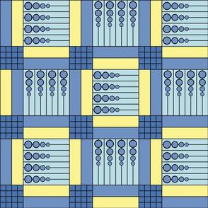 "40 Something (6""): Blue & Yellow Retro Geometric Tile"