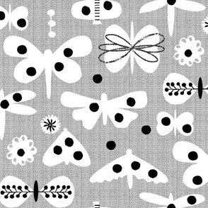 Black and white and polka dot moths
