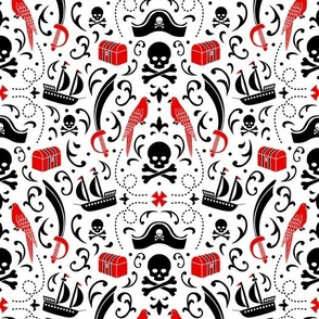 A Pirate's Life Damask (White_