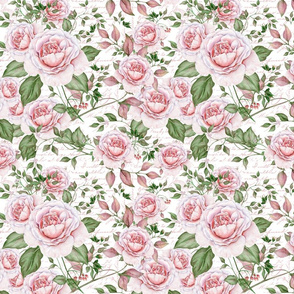 Watercolor Rose Pattern Pink And White