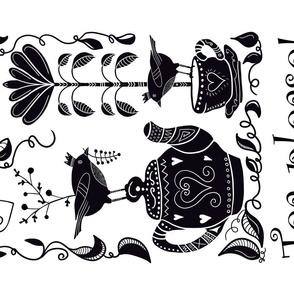 Black White Folk Art Tea Towel