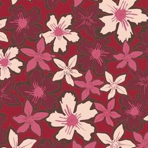 Floral design for fall winter 19 / 20 in pink, red and creme