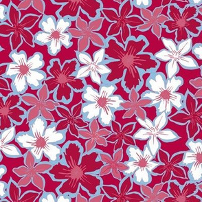 Flowers in bright pink blue