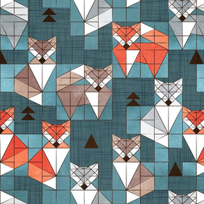 Blocked geometric foxes // normal scale // teal background white grey orange and brown foxy animals